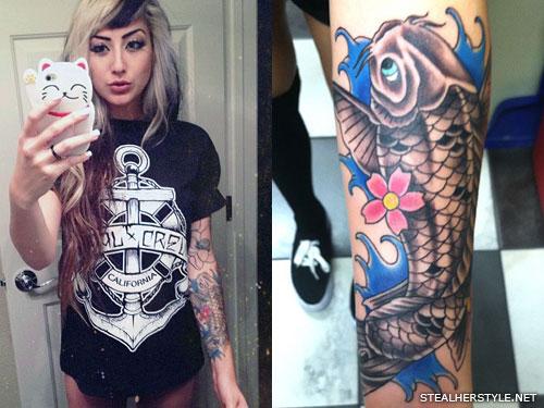 Allison Green koi fish arm tattoo