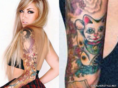 Allison Green lucky cat arm tattoo