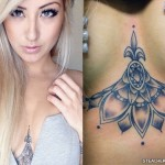 Allison Green flowers chest tattoo