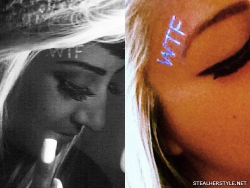 Allison Green WTF ultraviolet face tattoo