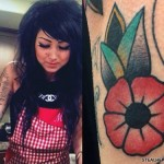 Melissa Marie Green flower arm tattoo