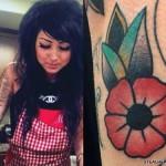Melissa Marie Green flower arm tattoo