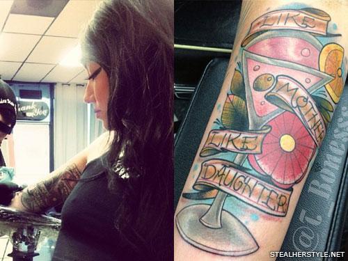 Melissa Marie Green martini arm tattoo