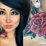 Melissa Marie Green rose neck tattoo