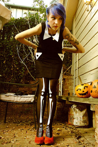 sherri dupreebemis skeleton tights outfit steal her style