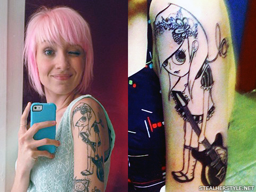Sherri DuPree-Bemis' guitar girl tattoo