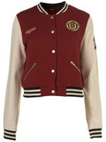 Topshop Burgundy Baseball Jacket