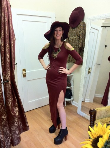 Maxi Dress, Necklace, Oversized hat and Jeffery Campbell shoes from Gypsy Warrior Boutique in Ridgewood, NJ