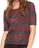 Forever 21 Burnout Rugby Stripes Top in Navy/Wine