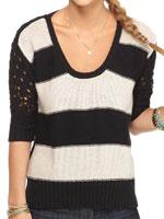 American Rag Short Sleeve Stripe Crochet Scoopneck Sweater