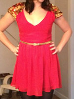 Vin and Omi red and gold sequin dress