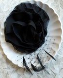 Black Flower Hair Fascinator (with feathers and russian netting)