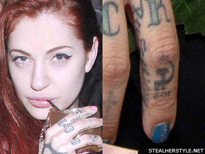 Porcelain Black hammer and sickle knuckle tattoo