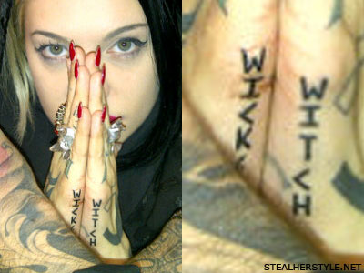 Porcelain Black 'wicked witch' tattoo
