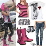 Ariel for Hire's pink boots, ripped jeans, skeleton tee, and belt