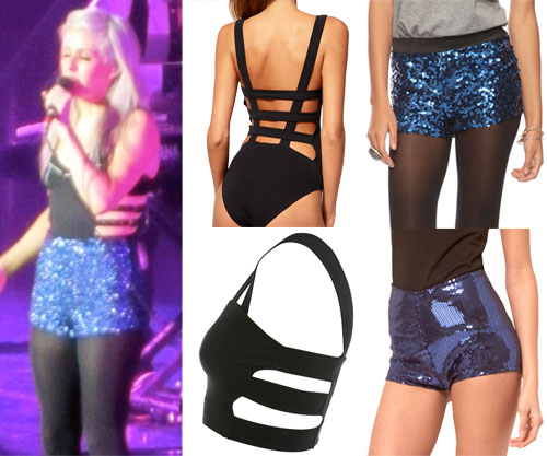 Ellie Goulding strappy bodysuit and sequin shorts