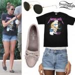 Miley Cyrus Metallica t-shirt Minnetonka moccasins