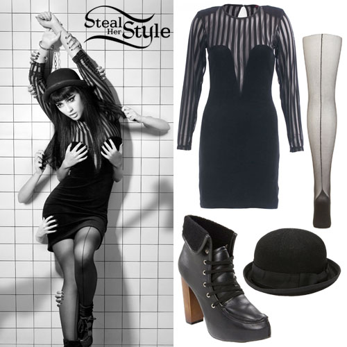 Natalia Kills fashion - dress, tights, hat, and boots outfit