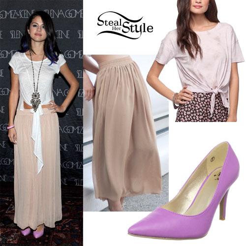 Selena Gomez chiffon skirt