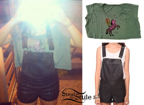 faux leather overalls and crop top