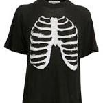 Wildfox Sparkley Skeleton Surf Raglan Tee in Clean Black
