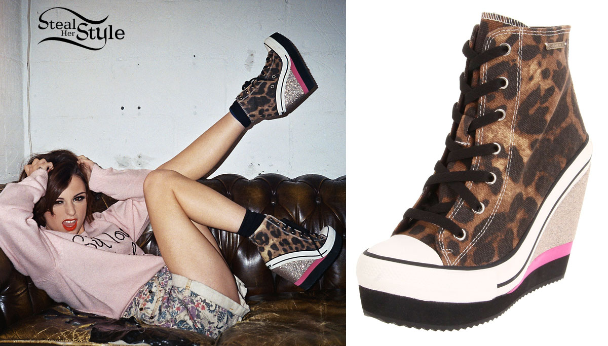 Cher Lloyd Leopard Sneaker Wedges Steal Her Style