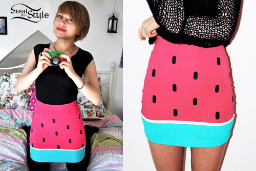 Eva Spence watermelon skirt