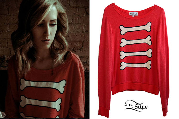 Mindy White: Red Bones Sweater | Steal Her Style