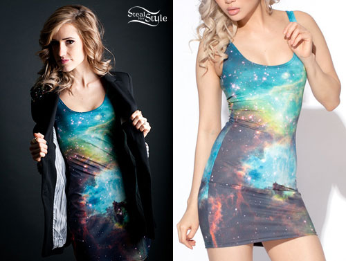 Galaxy Print Dress Mindy White