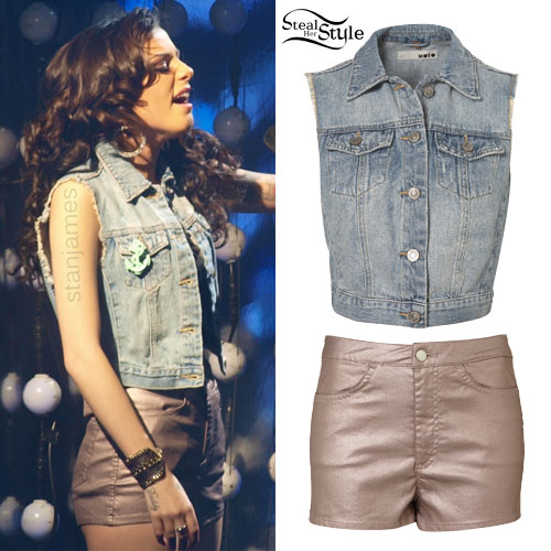 Cher Lloyd: Shimmer Shorts, Denim Vest