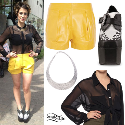 DEV sheer blouse, yellow leather shorts, platform oxfords