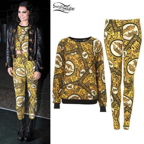 Jessie J: Scarf Print Leggings & Sweater