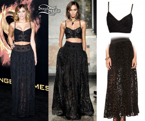 Miley Cyrus: Hunger Games Top & Skirt