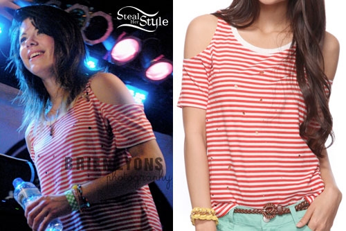 Tay Jardine: Red & White Striped Cold Shoulder Top