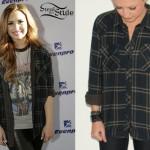 Demi Lovato: Olive Plaid Shirt