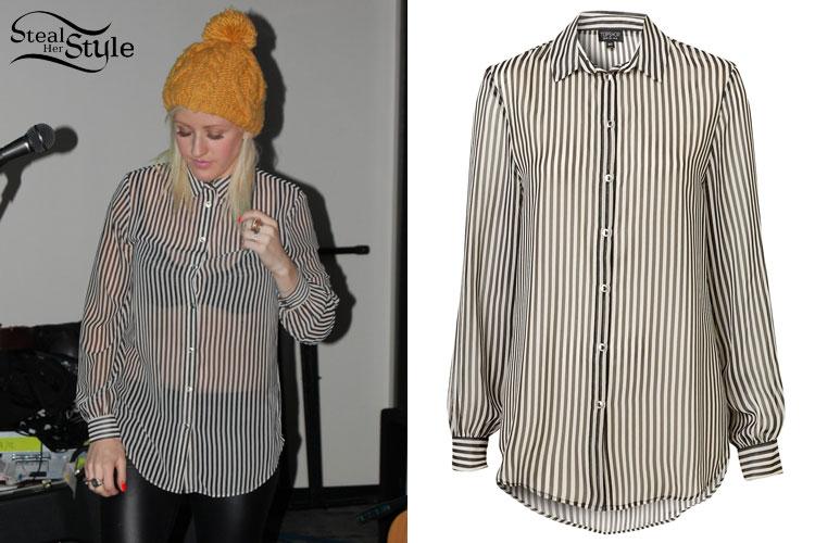 cea37310eab09d Ellie Goulding: Sheer Striped Shirt | Steal Her Style