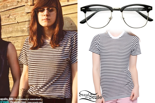 Jess Abbott: Glasses, Striped Tee