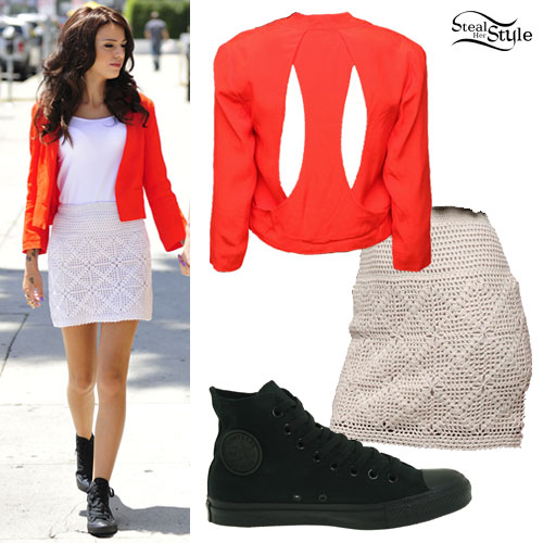 Cher Lloyd: Red Blazer, Crochet Skirt, Converse