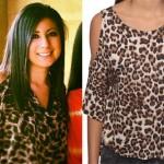 Jess Bowen: Leopard Cold Shoulder Top