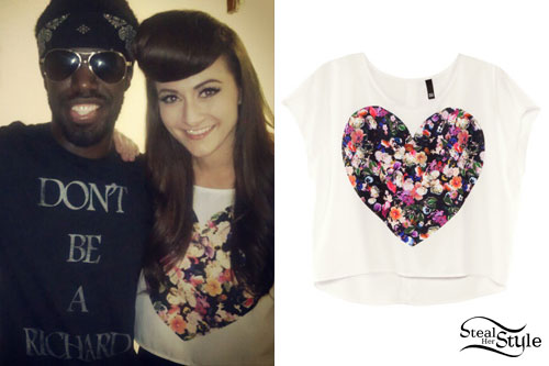 Amy Heidemann Floral Heart Crop Top