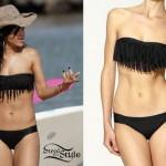Rihanna black fringe bikini