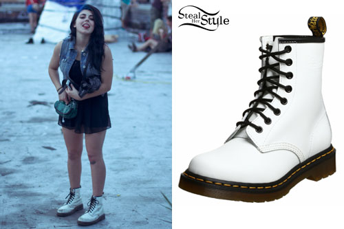 size 40 cute cheap a few days away Sierra Kusterbeck: White Dr Martens Boots | Steal Her Style