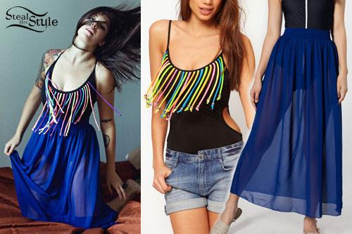 Alexis Krauss: Fringe Bodysuit, Chiffon Skirt
