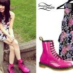Carly Rae Jepsen: Floral Peplum Dress & Hot Pink Dr Martens