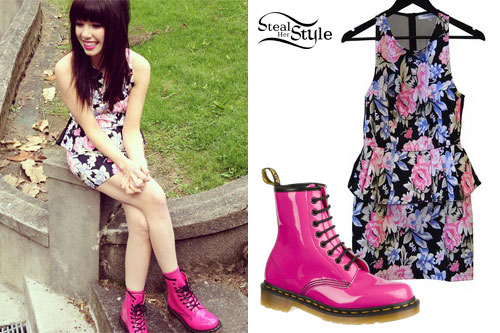 Carly Rae Jepsen: Floral Peplum Dress & Hot Pink Dr Martens