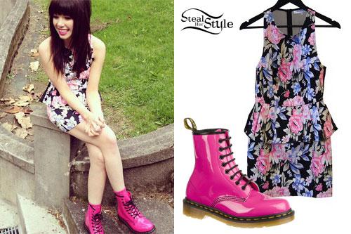 moda designerska całkowicie stylowy tanio na sprzedaż Carly Rae Jepsen: Floral Dress & Hot Pink Dr Martens | Steal ...