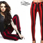 Cher Lloyd: Motel Red and Black Striped Jeans