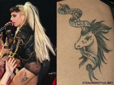 Lady Gaga Born This Way unicorn tattoo