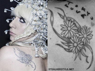 Lady Gaga daisy shoulder tattoo