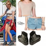 Miley Cyrus: Studded Back Platform Sneakers